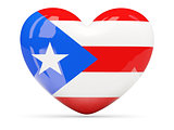 Heart shaped icon with flag of puerto rico