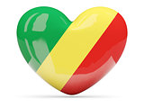 Heart shaped icon with flag of republic of the congo