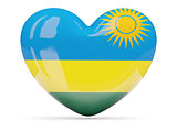 Heart shaped icon with flag of rwanda