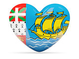 Heart shaped icon with flag of saint pierre and miquelon