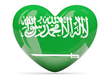 Heart shaped icon with flag of saudi arabia