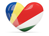 Heart shaped icon with flag of seychelles
