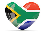 Heart shaped icon with flag of south africa