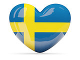 Heart shaped icon with flag of sweden