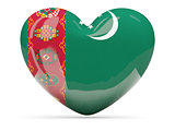 Heart shaped icon with flag of turkmenistan