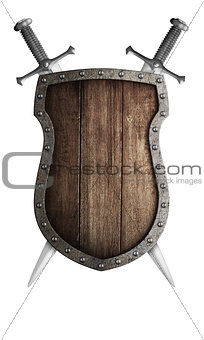 old wooden medieval shield and two crossed swords isolated
