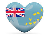 Heart shaped icon with flag of tuvalu
