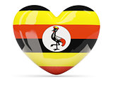 Heart shaped icon with flag of uganda