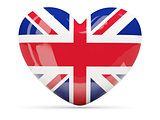 Heart shaped icon with flag of united kingdom