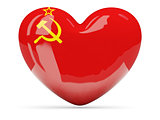 Heart shaped icon with flag of ussr