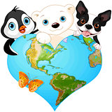 Earth heart with animals