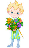 Cute Little Prince Holds Flowers