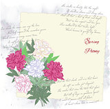 Background with pink white peony