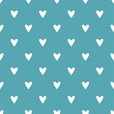 Tile vector pattern with white hearts on mint blue background