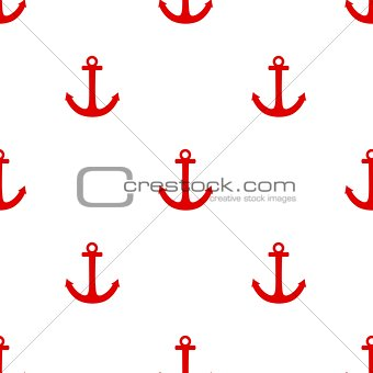 Tile sailor pattern with red anchor on white background