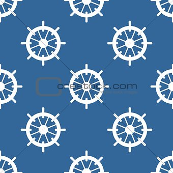 Tile sailor vector pattern with white rudder on navy blue background