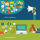 digital marketing and online marketing flat design