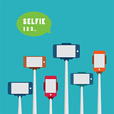 taking a selfie photo with monopod flat design