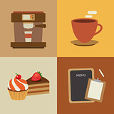 set of coffee flat design elements