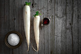 Daikon Radish On Wooden Background