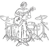 Illustration of hipster playing guitar