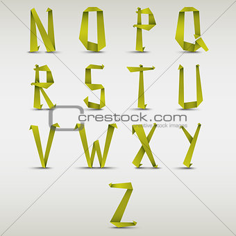 Alphabet folded green paper abstract template