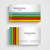 Business card with colored stripes template