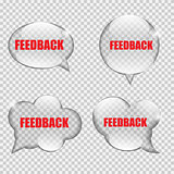 Glass Transparency Feedback Speech Bubble Vector Illustration