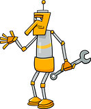 robot with wrench cartoon illustration