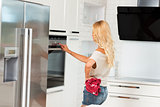 commercial cute girl cook with oven