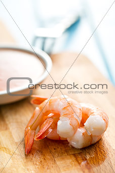 prawns on cutting board