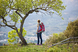 Woman hiker with backpack standing under tree and enjoying valley view
