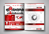 Vector bi-fold brochure template design or flyer layout to use for business