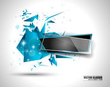Glass Banner with Abstract Shape and glossy effect