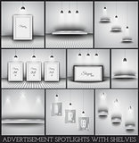 Collection of spotlights and shelves for product advertisement