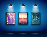 Spotlights Wall with Low Poly Arts