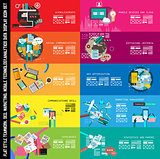 Infographic teamwork Banner Set and brainstorming with Flat style