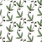 Seamless Green Floral Pattern With Olive Branches Garlands on White Background