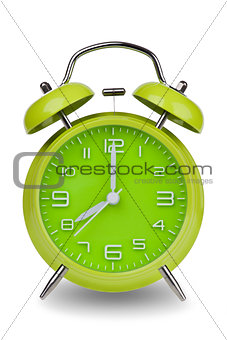 Green alarm clock with hands at 8 am or pm