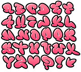 graffiti bubble vector fonts with gloss and outline variation