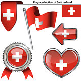 Glossy icons with flag of Switzerland