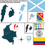 Map of San Andres and Providencia, Colombia