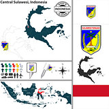 Map of Central Sulawesi, Indonesia