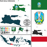 Map of East Java, Indonesia