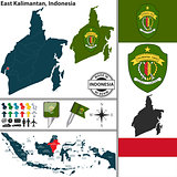 Map of East Kalimantan, Indonesia