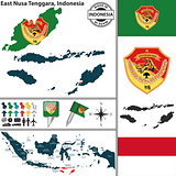 Map of East Nusa Tenggara, Indonesia