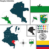 Map of Vaupes, Colombia