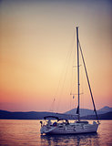 Sailboat in sunset light