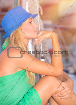Thoughtful female on sail boat