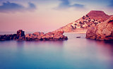Greek island in purple sunset